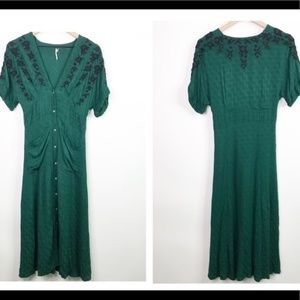 Free people rare green embroidered dress size Xs